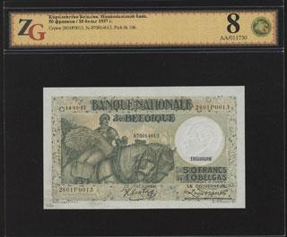 Бельгия. 50 франков (10 бельг). 1937 г. В холдере «ZG».