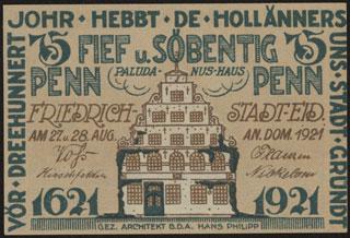 Германия. Фридрихштадт. 75 пфеннигов. 1921 г.