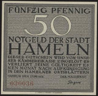 Германия. Хамельн. 50 пфеннигов. 1921 г.