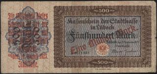 Германия. Любек. 1 миллион марок. 1923 г.