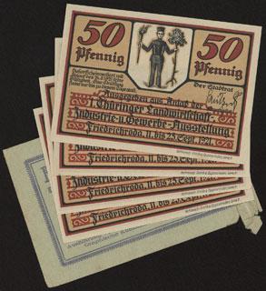 Германия. Фридрихрода. 50 пфеннигов. 1921 г. Лот из 4 нотгельдов и оригинального конверта.