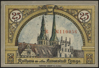 Германия. Лемго. 25 пфеннигов. 1921 г.