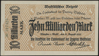 Германия. Мюнстер. 10 миллиардов марок. 1923 г.