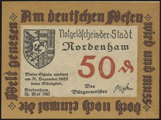 Германия. Норденхам. 50 пфеннигов. 1921 г.
