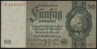 Германия. 50 рейхсмарок. 1933 г.