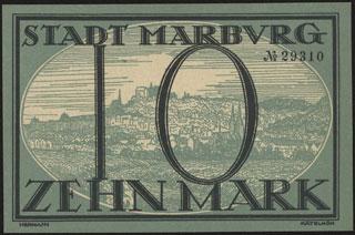 Германия. Марбург-ан-дер-Лан. 10 марок. 1918 г.