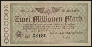 Германия. Имперские железные дороги. Берлин. 2 миллиона марок. 1923 г.