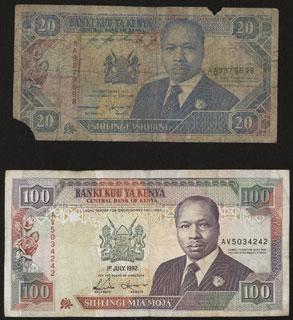 Кения. 20 шиллингов 1993 г. и 100 шиллингов 1992 г. Лот из 2 шт.