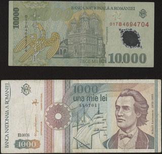 Румыния. 1 000 и 10 000 леев. 1991-2000 гг. Лот из 2 шт.