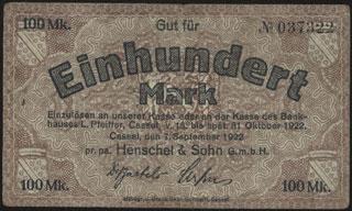 Германия. Кассель. 100 марок. 1922 г.