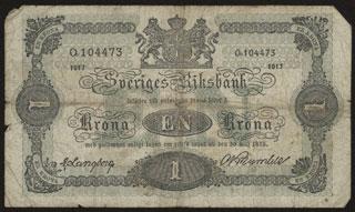 Швеция. 1 крона. 1917 г.