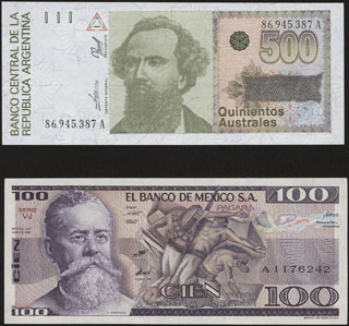 Аргентина, Мексика. 1990-1982 гг. Лот из 2 шт.