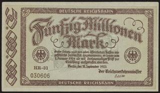 Германия. Имперские железные дороги. Берлин. 50 миллионов марок. 1923 г.