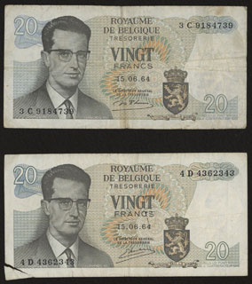 Бельгия. 20 франков. 1964 г. Лот из 2 шт.