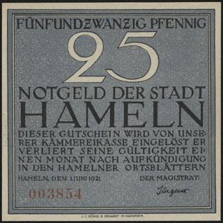 Германия. Хамельн. 25 пфеннигов. 1921 г.