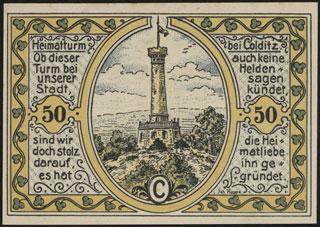 Германия. Кольдиц. 50 пфеннигов. 1921 г. Серия C.