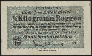 Германия. Ольденбург. 0,5 килограмма ржи. 1923 г.