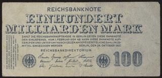 Германия. 100 миллиардов марок. 1923 г.