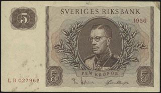 Швеция. 5 крон. 1956 г.