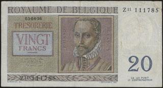 Бельгия. 20 франков. 1956 г.