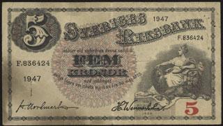 Швеция. 5 крон. 1947 г.