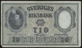 Швеция. 10 крон. 1959 г.