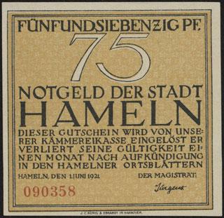 Германия. Хамельн. 75 пфеннигов. 1921 г.