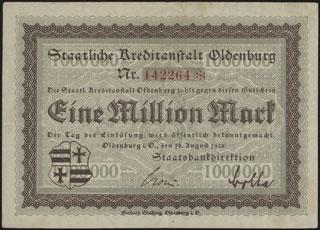 Германия. Ольденбург. 1 миллион марок. 1923 г.