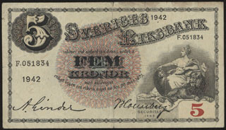 Швеция. 5 крон. 1942 г.