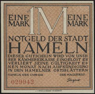 Германия. Хамельн. 1 марка. 1921 г.