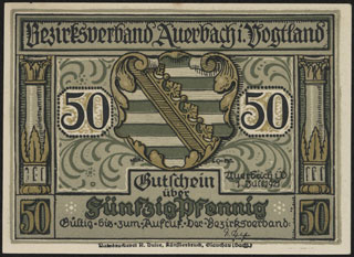 Германия. Ауэрбах. 50 пфеннигов. 1921 г.