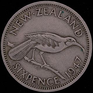 Новая Зеландия. 6 пенсов 1947 г. Медно-никелевый сплав