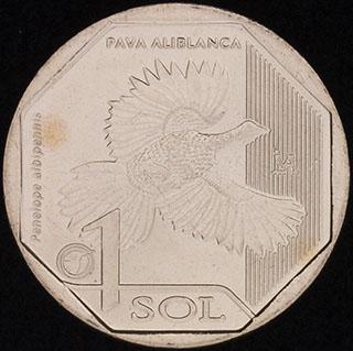 Перу. 1 соль 2018 г. «Белокрылый гуан». Медно-цинково-никелевый сплав