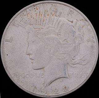 США. 1 доллар 1922 г. «Мирный доллар». D. Серебро
