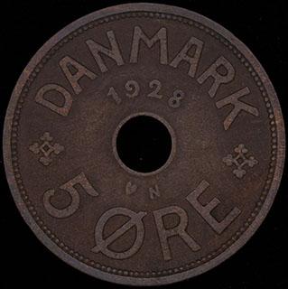 Дания. 5 эре 1928 г. Медь