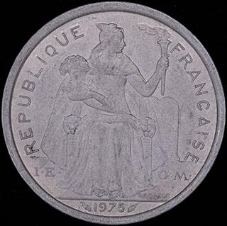 Французская Полинезия. 2 франка 1975 г. Алюминий