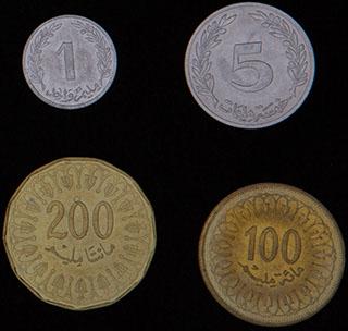 Тунис. Лот из монет 1960-2013 гг. 4 шт.