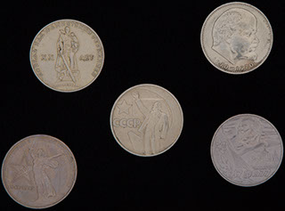 Лот из памятных рублей 1965-1985 гг. 5 шт.