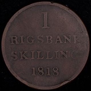 Дания. 1 ригсбанкскиллинг 1818 г. Медь