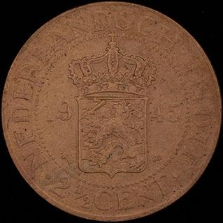 Голландская Ост-Индия. 2 1/2 цента 1945 г. Медь