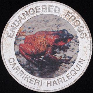 Малави. 10 квач 2010 г. «Вымирающие лягушки - Каррикери арлекин». Медно-никелевый сплав с серебряным покрытием
