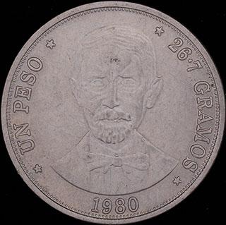 Доминикана. 1 песо 1980 г. Медно-никелевый сплав