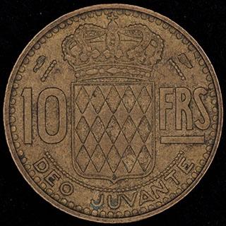 Монако. 10 франков 1951 г. Алюминиевая бронза