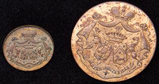 Лот из ливрейных пуговиц с брачными гербами графа И.И. Воронцова-Дашков и графини Е.А. Шуваловой. 2 шт.