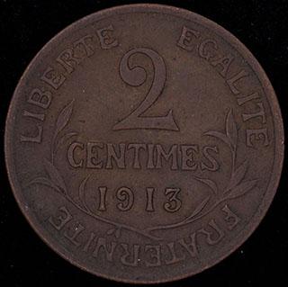 Франция. 2 сантима 1913 г. Медь