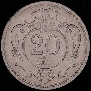 Австрия. 20 геллеров 1911 г. Никель