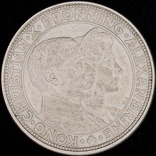 Дания. 2 кроны 1923 г. «Серебряная годовщина свадьбы Кристиана X». Серебро