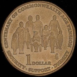 Австралия. 1 доллар 2009 г. «100 лет выплаты пенсий в странах Содружества». Алюминиевая бронза