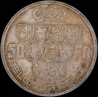Бельгия. 50 франков 1940 г. Серебро