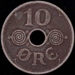 Дания. 10 эре 1934 г. Медно-никелевый сплав
